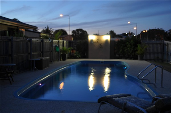 Our Pool at twilight